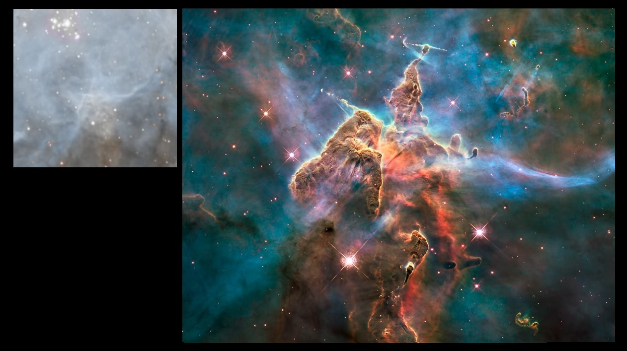 Objet de Herbig Haro, avec l'étoile de Wolf Rayet WR22 et ses jets caractéristiques