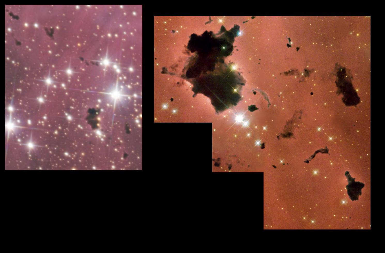 gros plan sur les globules de Thackeray, comparaison avec une image prise par le télescope spatial Hubble.