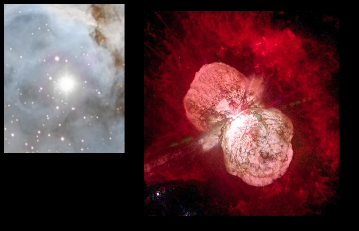 l'étoile Eta Carinae, une hyper géante de près de 150 masses solaires