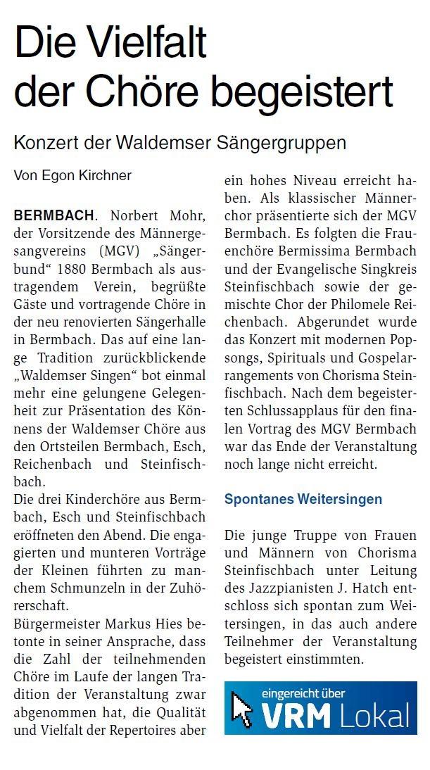 Bericht aus dem Camberger Anzeiger entnommen am 26.03.2020