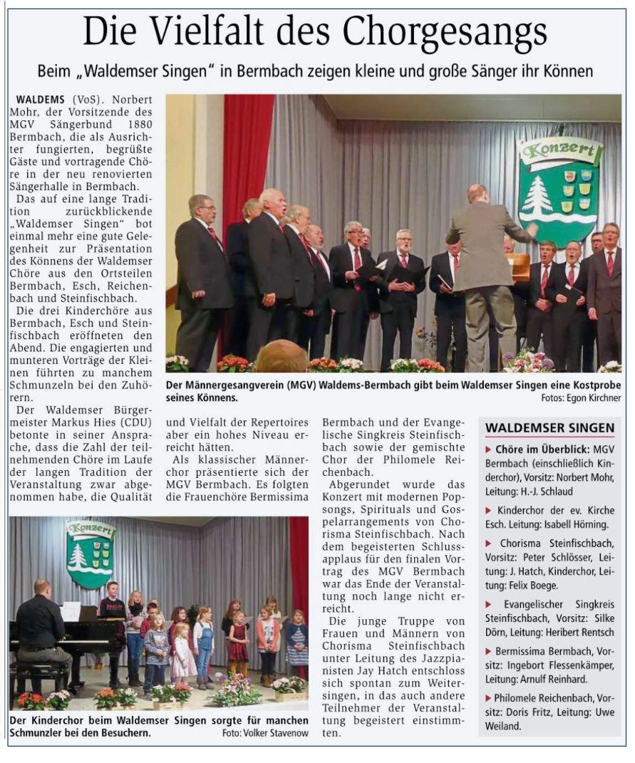Bericht aus der Idsteiner Zeitung entnommen am 18.03.2020