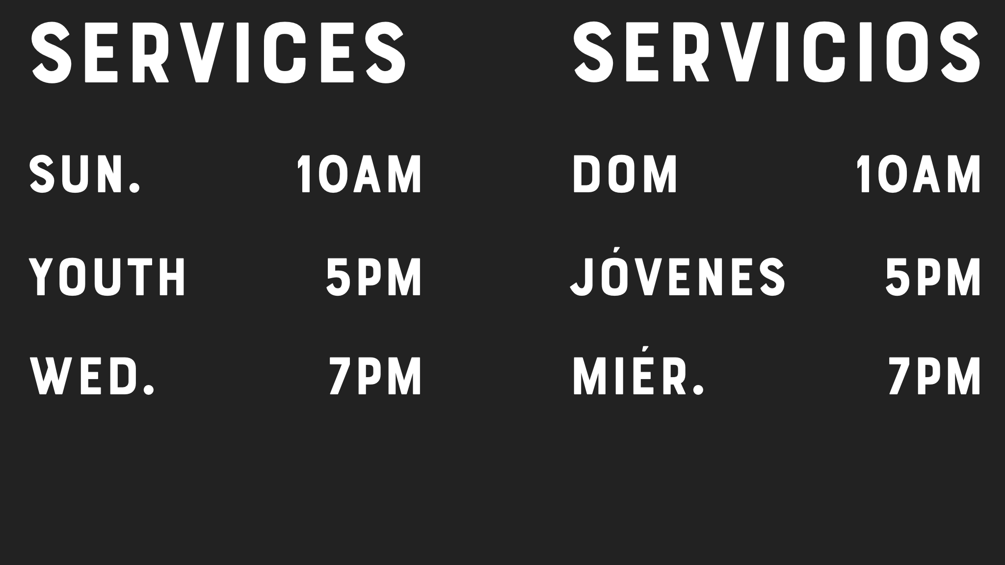 Our services, here at La Voz de Dios CC. Come and worship with us!