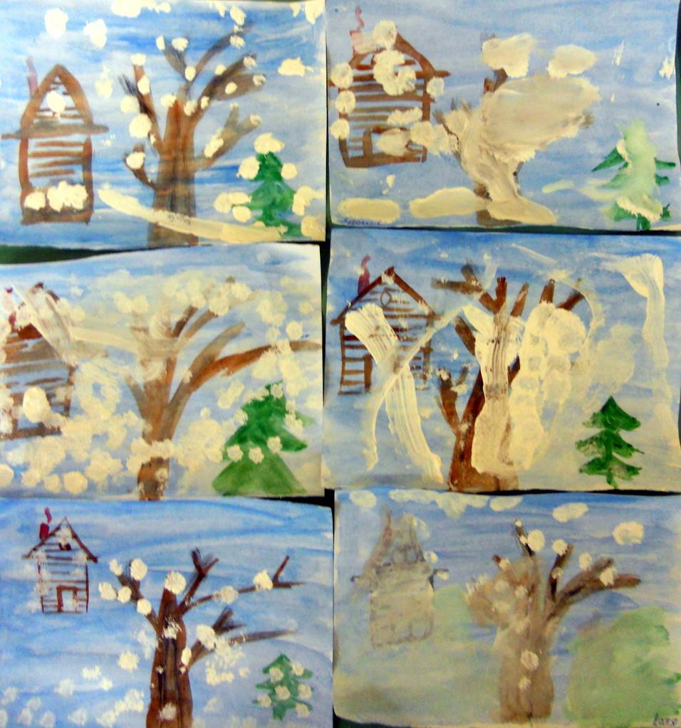 Всюду снег, в снегу дома -  Привезла его зима.Рисование методом тычка.
