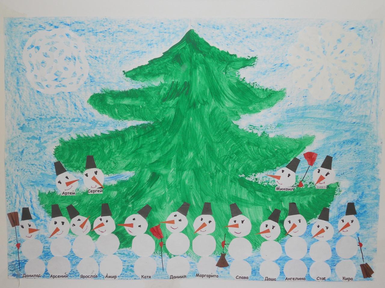 Коллективная работа.Веселые снеговички у елки.