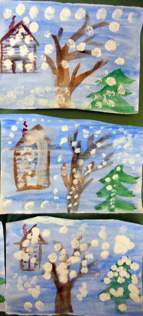 Рисуем снег гуашью,методом тычка