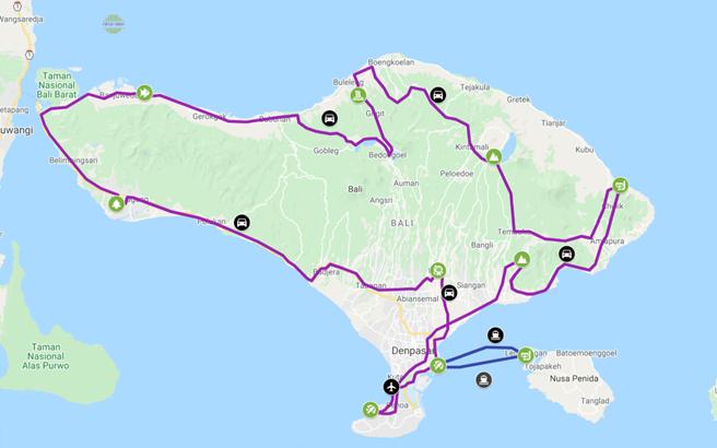 Route kaart rondreis Avontuurlijk Bali van Mimpi Reizen