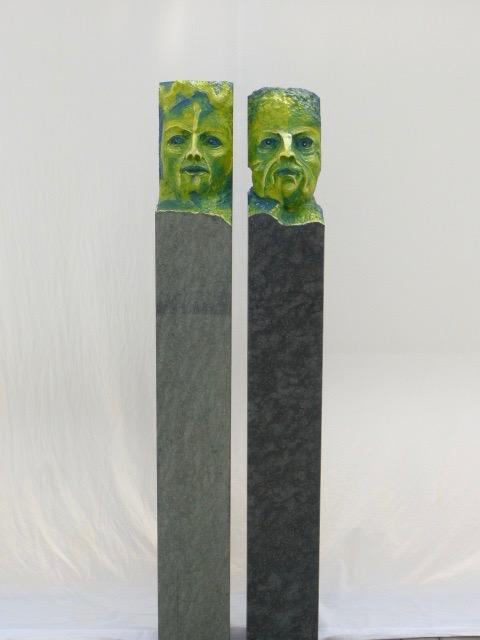 """Hessische Diabas-Stelen, """"Die Lehmanns""""  1,60 m Höhe, verkauft"""