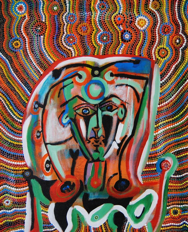 Der Unzerbrechliche (2010) 75 x 50 cm - Acryl, Öl und Nagellack auf Spanplatte