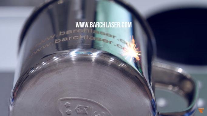 Grabado laser en superficie conica