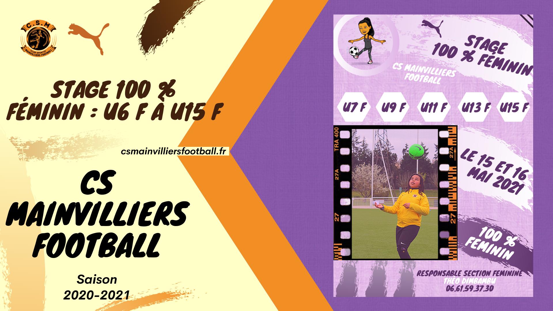 Inscription Stage 100 % Féminin : U6 F à U15 F - CS Mainvilliers Football