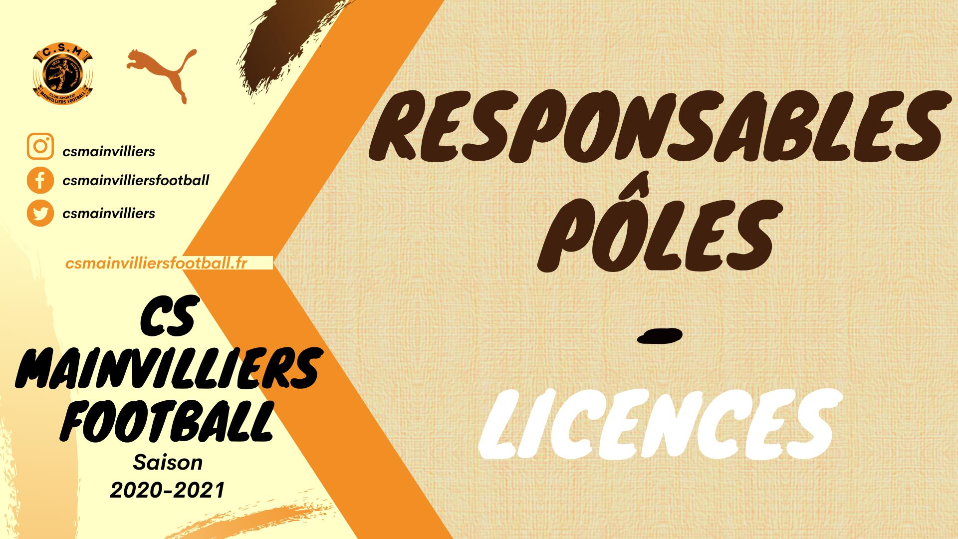 Responsables de Pôles & Licences Saison 2021-2022 - CS Mainvilliers Football