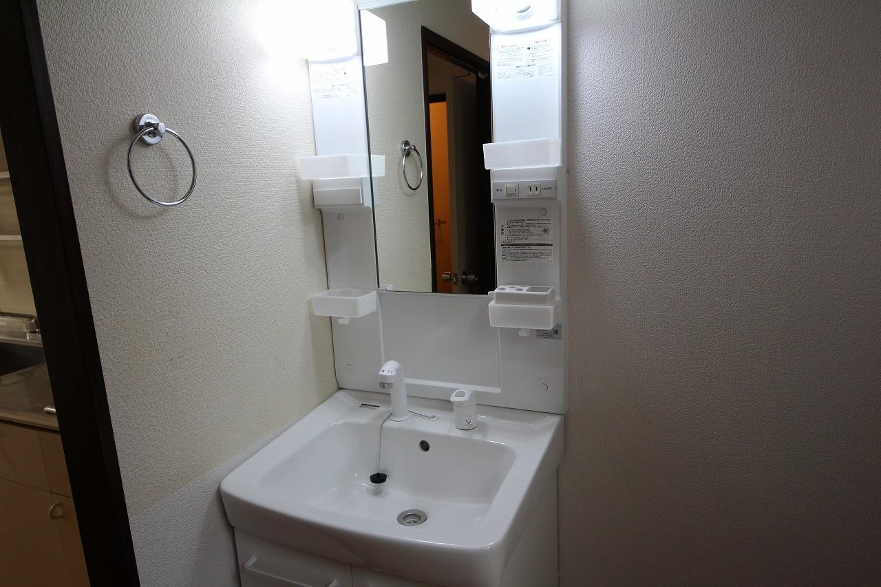 独立洗面台はシャワー付きです