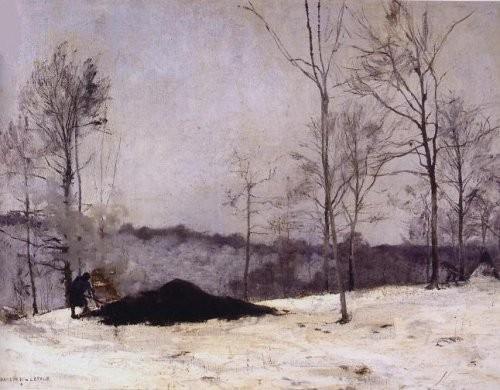 Paysage au charbonnier, l'hiver par Jules Bastien-Lepage