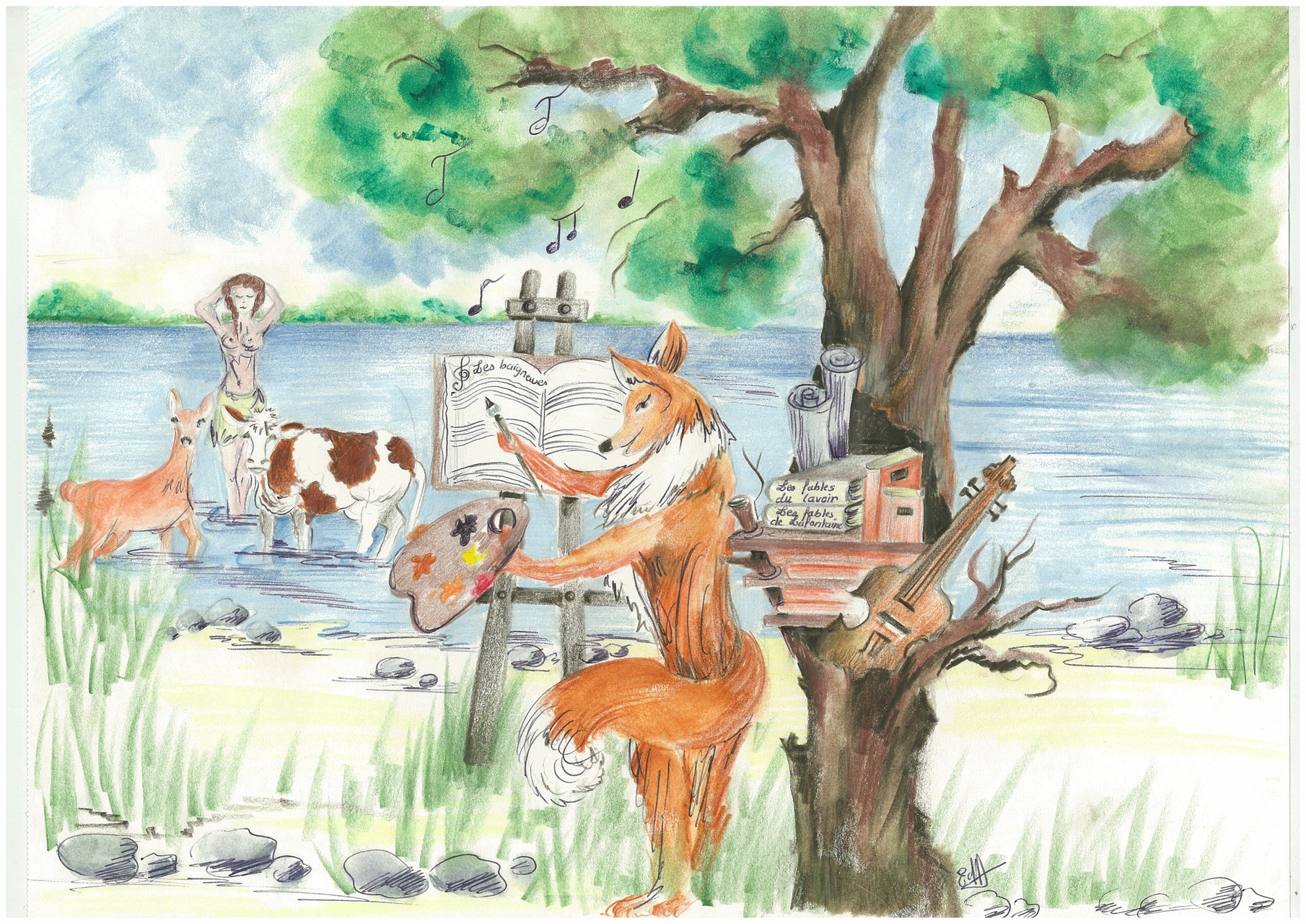 Le renard poète travaillant à son poème Les baigneuses