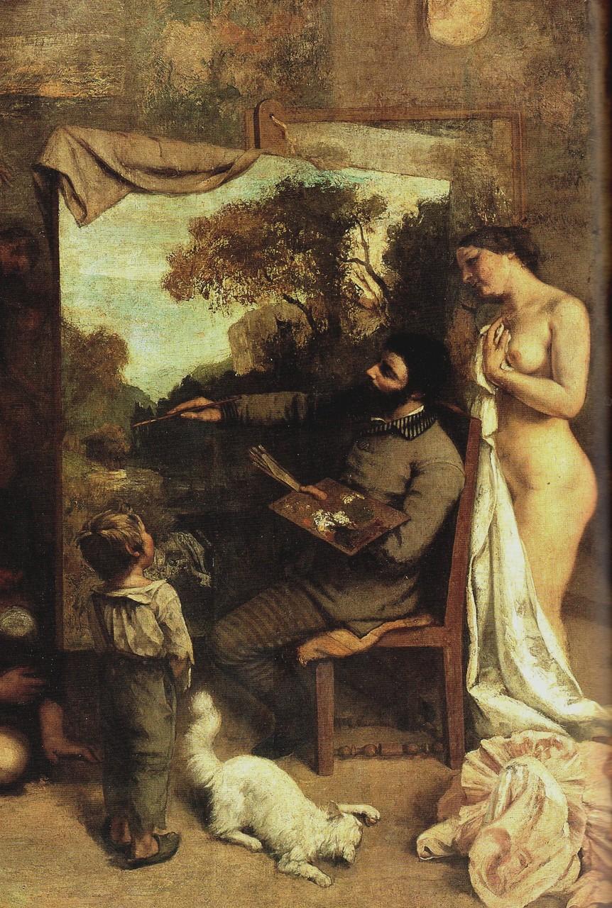 Gros plan sur le groupe central de L'atelier du peintre de Gustave Courbet
