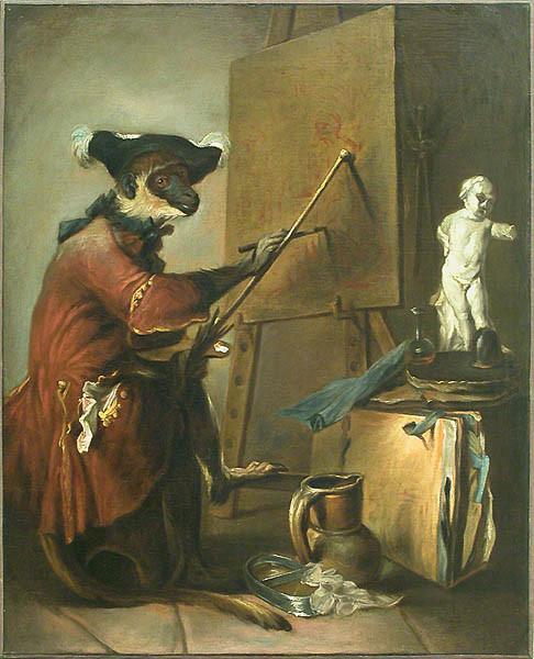 Le singe peintre par Jean-Baptiste Siméon Chardin