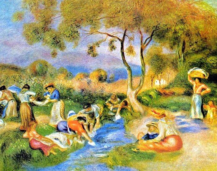 Les lavandières à Cagnes par Auguste Renoir