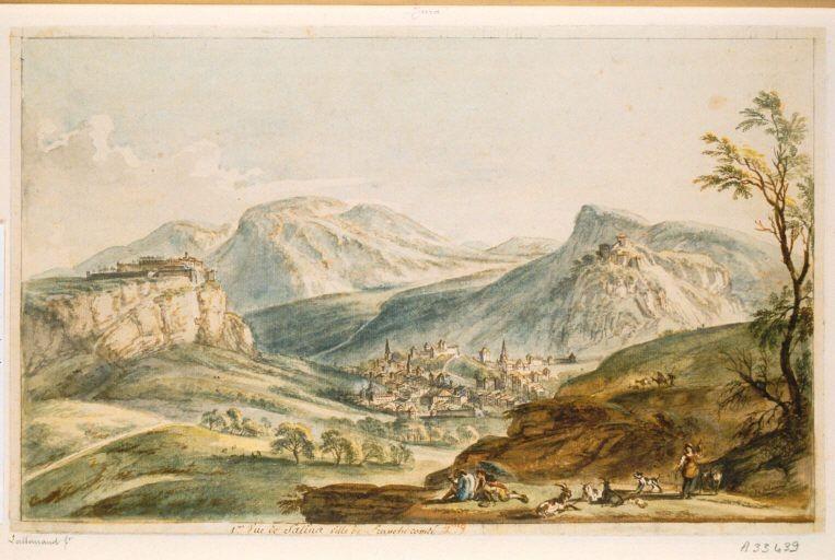 Vue de Salins-les-Bains par le peintre hollandais Van der Meulen