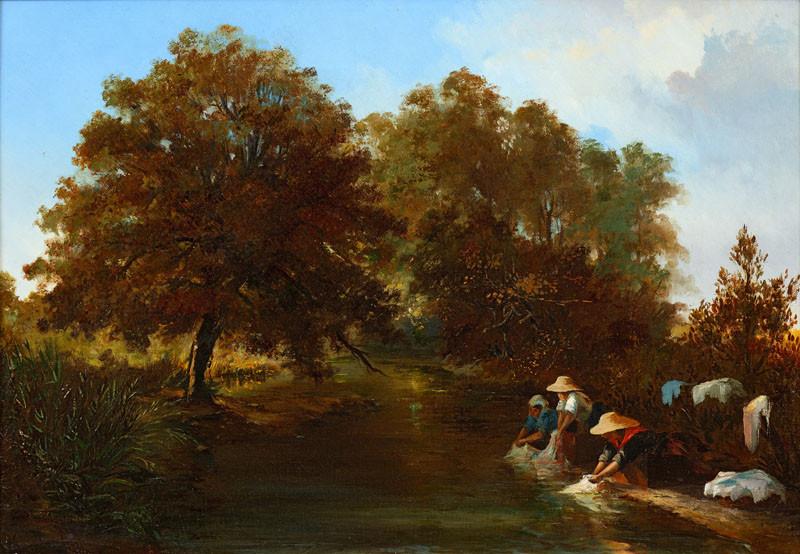 Les lavandières au bord de la Durance par Emile Loubon