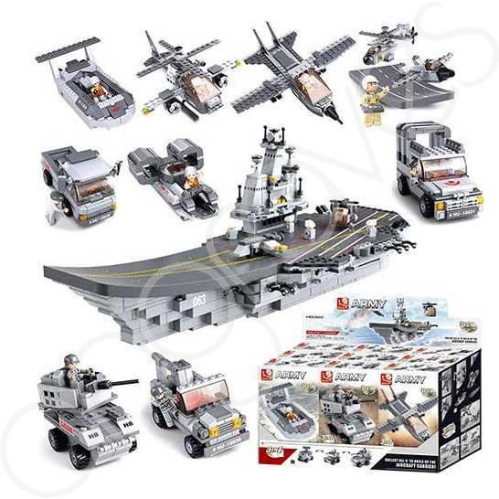 A box set consisting of 9 individual small sets. Each set can be made into one of 3 designs. If all 9 sets are combined together you can build the navy aircraft carrier