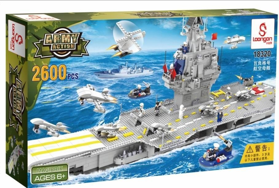 loongon building bricks aircraft carrier lego compatible