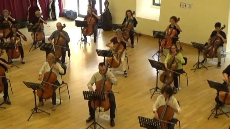 Cello-Orchester 2020 in Schlitz (Screenshot: A. Bockelmann)