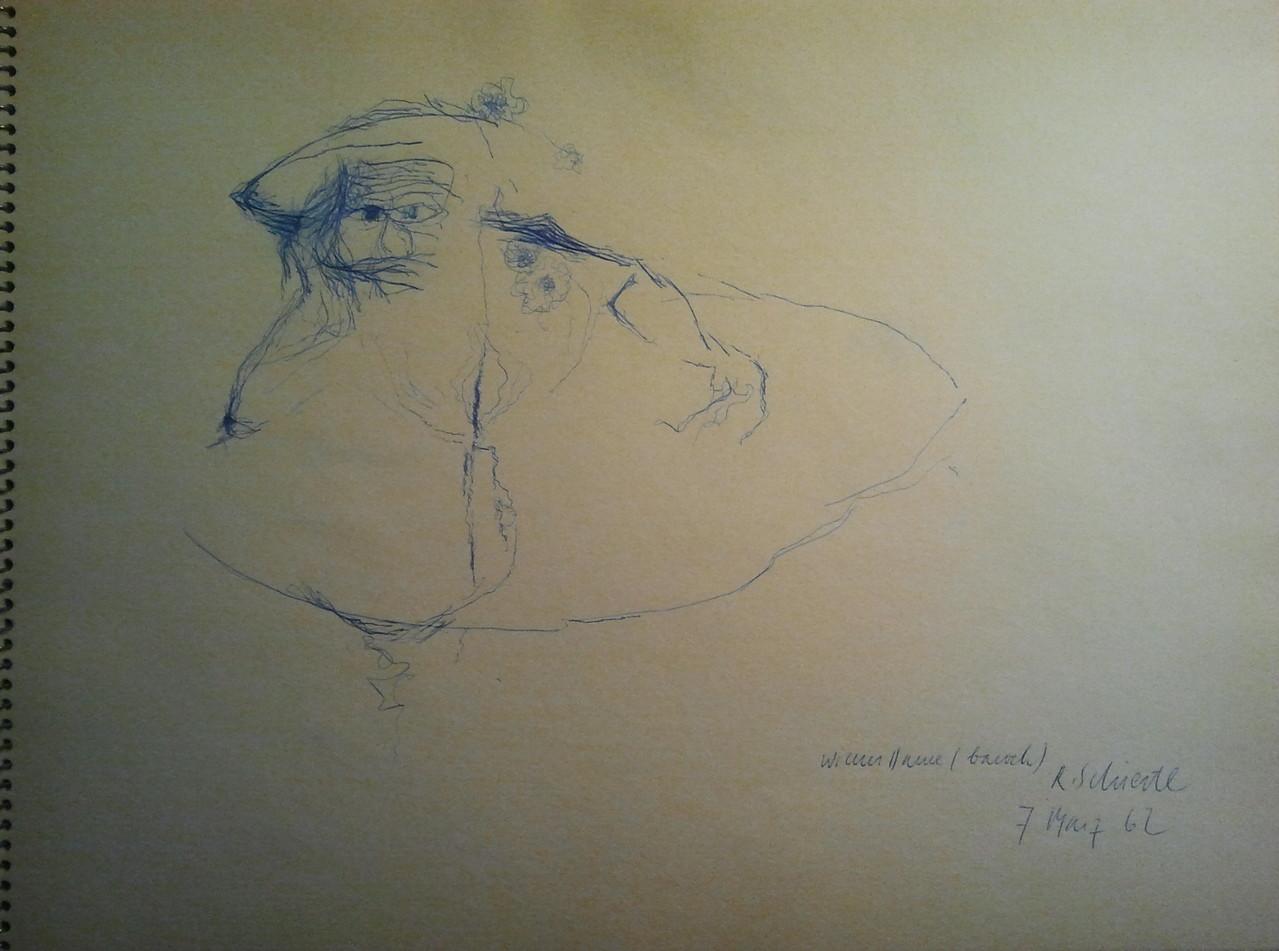 Viktor Matejka 1901 - 1993, Künstlerskizzen im Gästebuch (Rudolf Schiestl 1962)