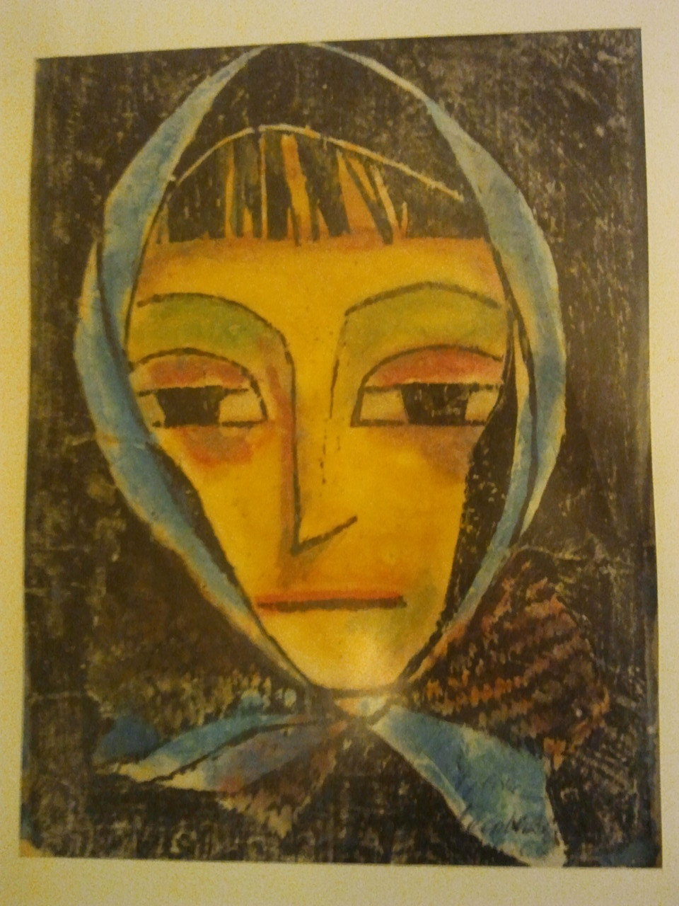 Die Frau mit dem Kopftuch, Druck - koloriert - Privatbesitz