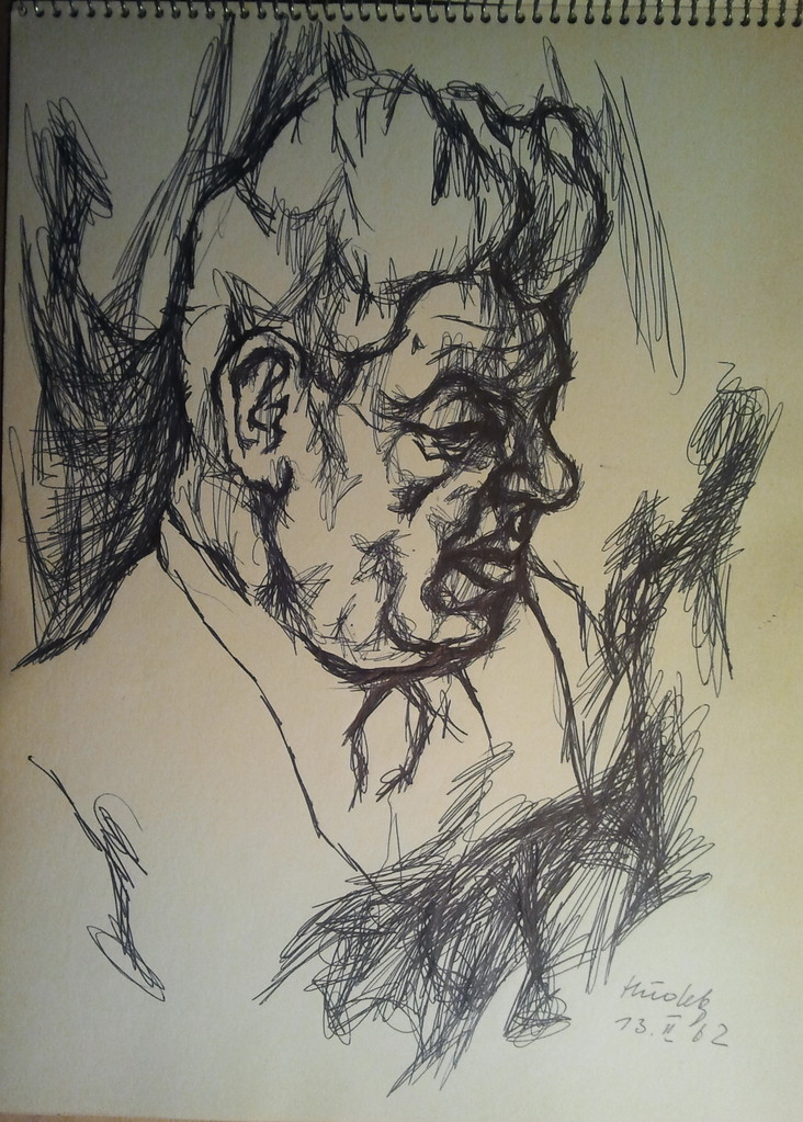Viktor Matejka 1901 - 1993, Künstlerskizzen im Gästebuch (Hudek, 1962)