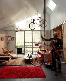Hang your bike from the ceiling with a bike hoist.
