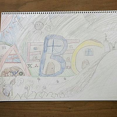 小5の絵:ABCの村