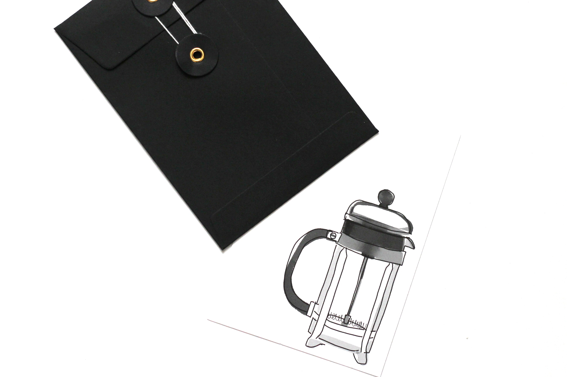 Kaffee Postkarte mit French Press Motiv