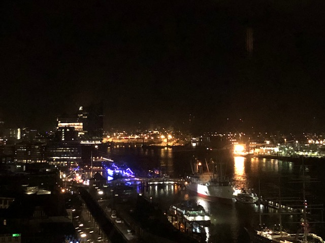 View on Hamburg harbor front from Tower Bar