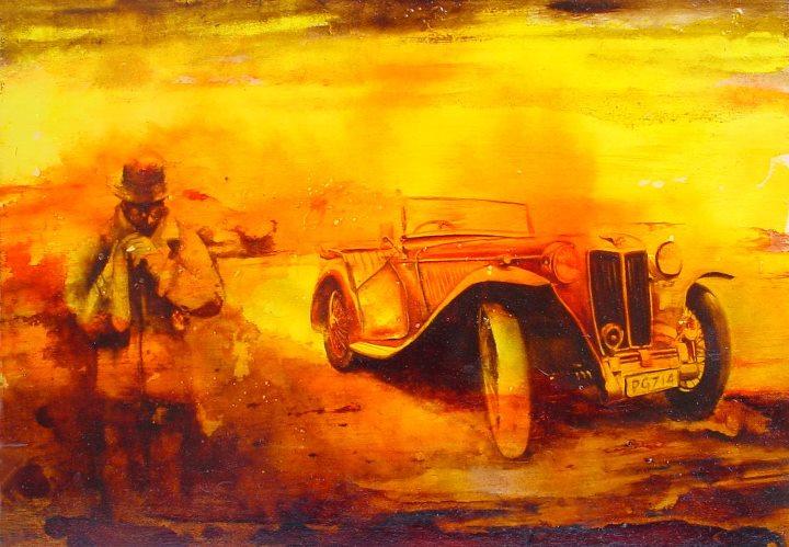 """""""La svestizione"""" (2012) aniline e olio su compensato, cm (50 x 35)"""