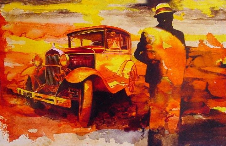 """""""L'automobilista perduto"""" (2012) aniline e olio su compensato, cm (45 x 28,5)"""