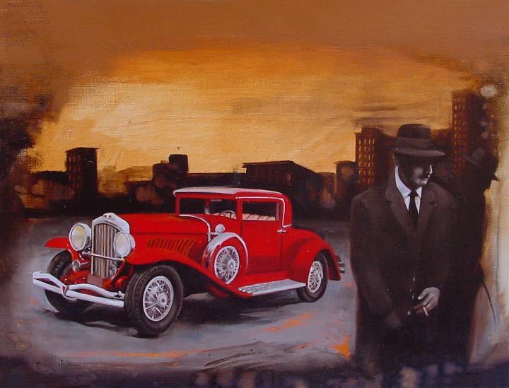 """""""La fermata per pisciare"""" (2012) olio e acrilico su carta telata, cm (40 x 30)"""