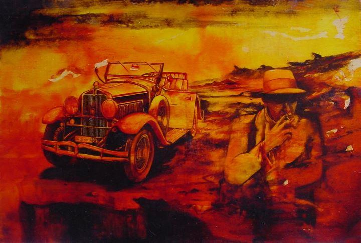 """""""La penultima sigaretta"""" (2012) aniline e olio su compensato, cm (45 x 30)"""