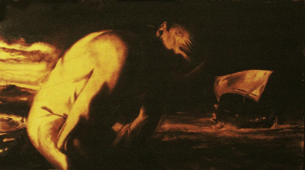 La nave di Ulisse / Ulysses' ship (2008) olio su legno - oil on wood, cm (90 x 50)