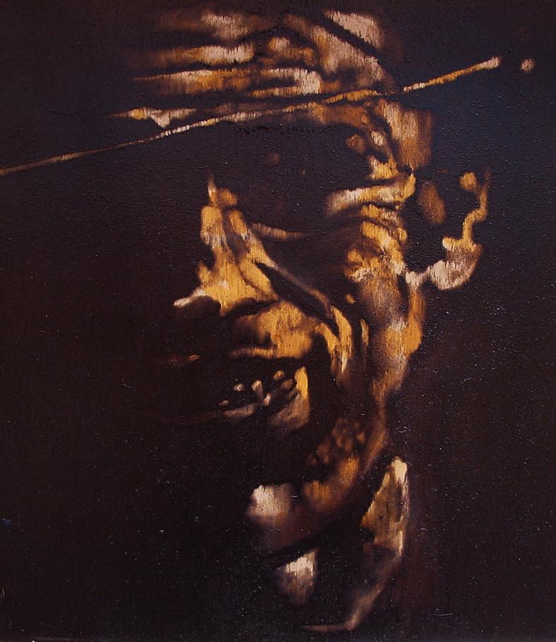 """""""Vie' un po' qua te..."""" (2009) olio su legno, cm (34,2 x 28,8)"""