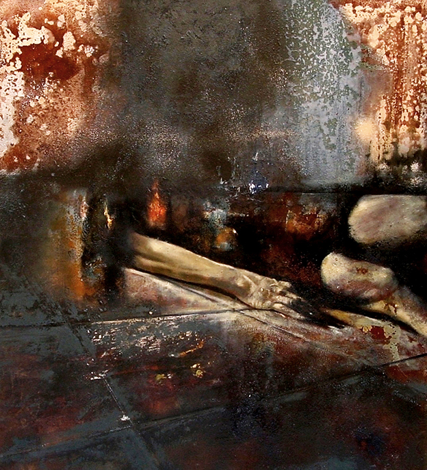 Burnt (2004) tecnica mista su legno - mixed media on wood, cm (90 x 100)