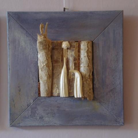 Collage mit Birke und Okraschoten