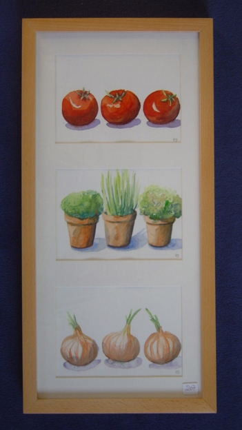 Tomaten, Kräuter, Zwiebeln