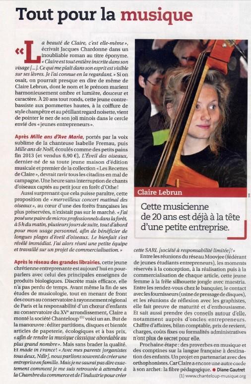 L'éveil des oiseaux, Claire Lebrun, Chanteloup Musique, 2014, article