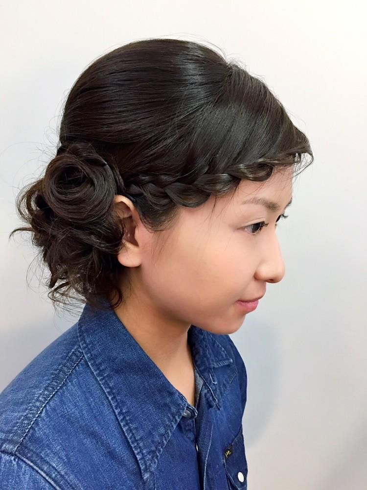 和装のヘアセットにも前髪編み込みヘアセットはとっても似合うんだよ