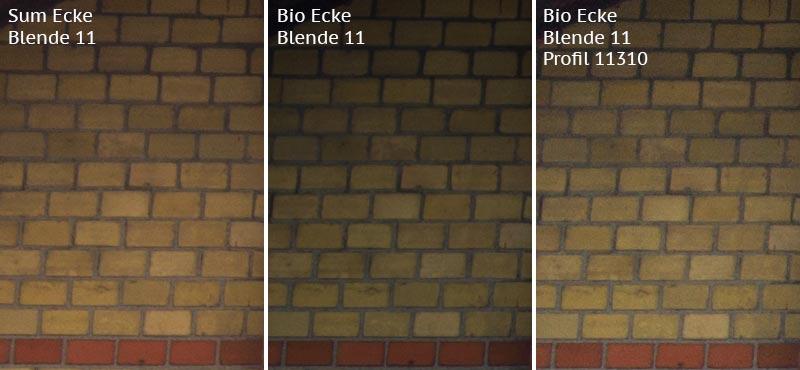 Vergleich Bildecke bei Blende 11: Summicron-M 2,0/35mm Asph. vs. Biogon ZM 2,0/35mm ohne/mit Profil. Foto: Klaus Schoerner