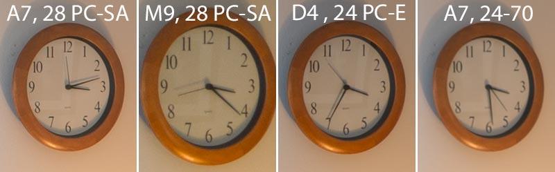 Im Test: 100%-Ausschnitte Bildmitte aus dem Architekturfoto im Vergleich, SONY Alpha 7s2 mit LEICA PC-Super-Angulon-R 2,8/28 mm. Foto: Klaus Schoerner