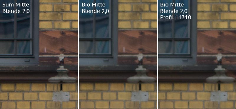 Vergleich mit Leica M9 bei Blende 2,0: Summicron-M 2,0/35mm Asph. vs. Biogon ZM 2,0/35mm ohne/mit Profil. Foto: Klaus Schoerner