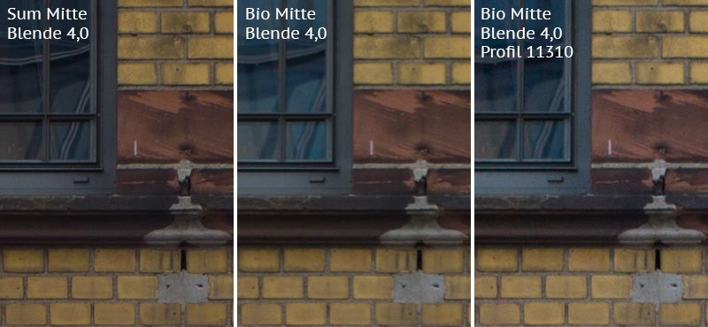 Vergleich mit Leica M9 bei Blende 4,0: Summicron-M 2,0/35mm Asph. vs. Biogon ZM 2,0/35mm ohne/mit Profil. Foto: Klaus Schoerner