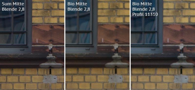 Vergleich mit Leica M9 bei Blende 2,8: Summicron-M 2,0/35mm Asph. vs. Biogon ZM 2,0/35mm ohne/mit Profil. Foto: Klaus Schoerner