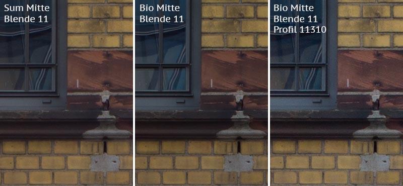 Vergleich mit Leica M9 bei Blende 11: Summicron-M 2,0/35mm Asph. vs. Biogon ZM 2,0/35mm ohne/mit Profil. Foto: Klaus Schoerner